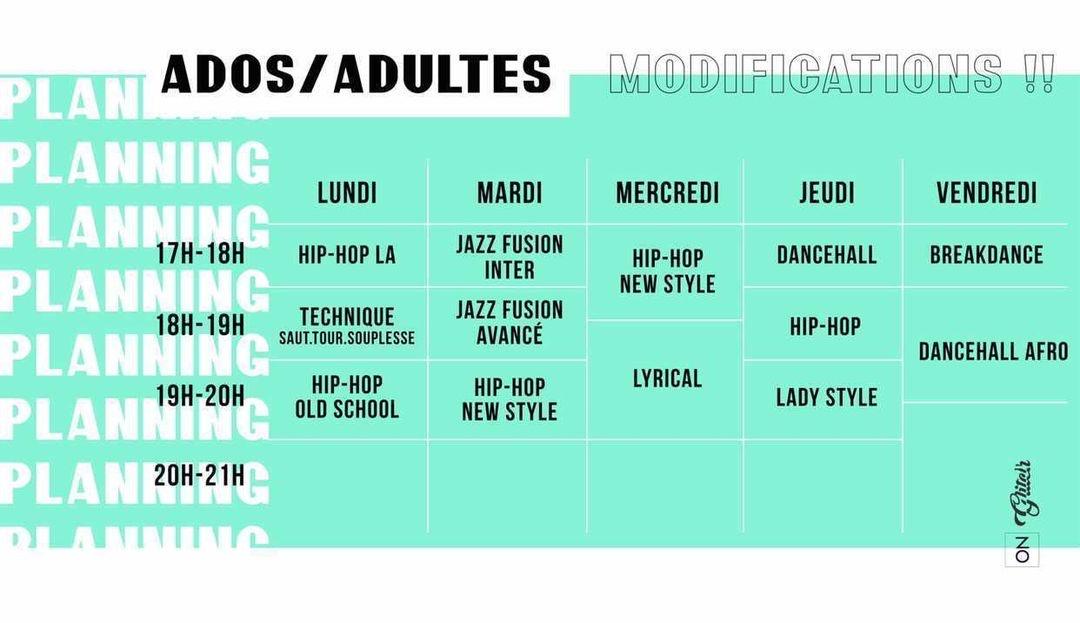 Planning – Ados – Adultes – Summer Dance Camp Edition 6