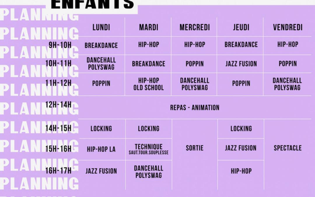 Planning – ENFANTS – Summer Dance Camp –